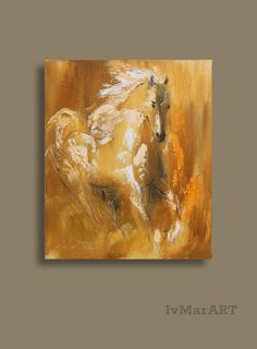Horse giclee canvas print of original oil by IvMarART on Etsy