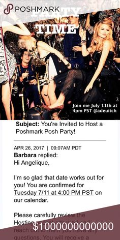 😍Hosting my first Posh Party😍 🆕I'm hosting my first posh 🎉 party🎊 and I'm so excited 🤗🤗 7/11 at 4pm PST theme & co-hosts To be announced. Please like this listing and share your favorite PFF's closet! More updates to follow 💠💠 Other
