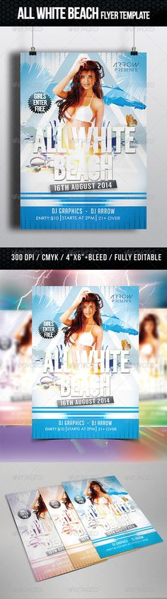 All White Beach Flyer Template PSD | Buy and Download: http://graphicriver.net/item/all-white-beach-flyer-template/8628066?WT.ac=category_thumb&WT.z_author=Arrow3000&ref=ksioks