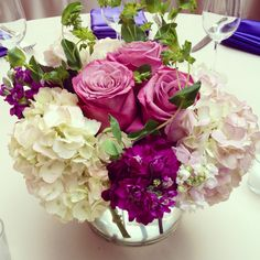 Shades of purple - beautiful lavender roses, blush hydrangea, purple stock.  Created by flowers by stem (www.flowersbystem.com).