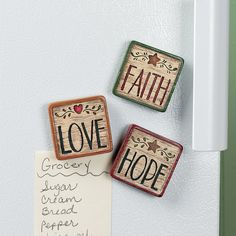 $5 Faith, Hop, Love Magnets - TerrysVillage.com