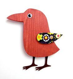 Whimsical Modern Wood Folk Art Bird Red Wall Art