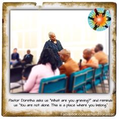"""Pastor Doretha asks us """"What are you grieving?"""" and reminds us """"You are not alone. This is a place where you belong."""" #lgbtqsacramento #northhighlands #mccsac #mcc #achurchforall #achurchforallsac #sundaysermon #pastordorethasays"""
