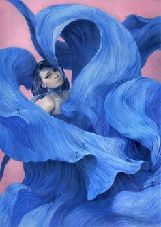 """Tran Nguyen: Across The Blue-Billowed Crevice (2011) $3,200Colored pencil and acrylic washes on Rives BFK paper  20 x 28""""     51 x 71 cm"""