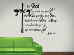 Christian Wall Stickers Quotes | John 3:16 For God So...Religious Wall Decal Quotes