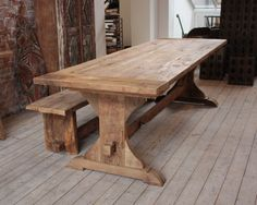 Furniture:Vintage Wooden Dining Table Designed With Restle And Long Wooden Bench Combine With Rustic Wooden Floor Build in Long Narrow Dining Table for Big Family Dining Space