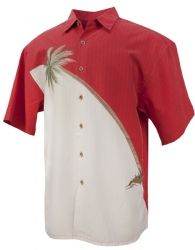 Hurricane Palm Tropical Embroidered Shirt in Tomato