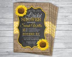 Printed 5x7 Burlap Chevron Chalkboard Sunflower Bridal Shower Invitations with Envelopes  by PrintPros