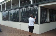 These are commonly fixed to terraces, verandahs, decks and patios - to give outside areas protection from wind and rain.