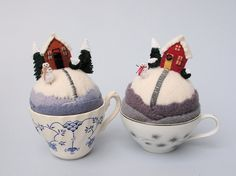 snowy tiny world pincushions