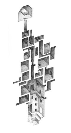 Our favorite art is that which expands infinitely off the page, infecting our minds and inspiring imaginary additions for days. Canadian illustrator Mathew Borrett's incredible, mysterious drawings of mazes within scraps of building, secret… Art Isométrique, Isometric Art, Perspective Art, Perspective Drawing Lessons, Architecture Drawings, Modern Architecture, Building Architecture, Architecture Portfolio, Concept Architecture