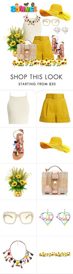 """""""Sunflower Fest 🌻"""" by daincyng ❤ liked on Polyvore featuring SHE MADE ME, Isa Arfen, Steve Madden, Frontgate, Mark Cross, Prada, Betsey Johnson, MANGO and Brewster Home Fashions"""