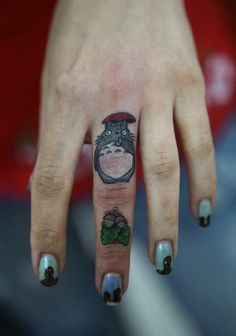 I'm newly obsessed with finger tattoo's and they Ghibli ones are fantastic.
