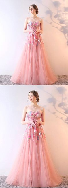 Pink tulle prom dress, long evening gown for teens #prom #dress #gowns #promdress