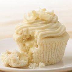 White Chocolate Cupcakes with Lindor Truffle Chocolate inside