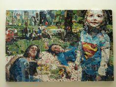 Collage de Derek Gores représentant une famille homoparentale, fait à partir de discours homophobes... Un seul mot me vient en tête : frappant.