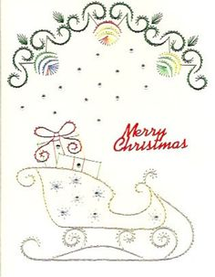 Sleigh with gifts by HandmadeCardsByAnita on Etsy Embroidery Cards, Embroidery Patterns, Stitching On Paper, Sewing Cards, String Art Patterns, Thread Art, Christmas Embroidery, Christmas Cards To Make, Card Patterns