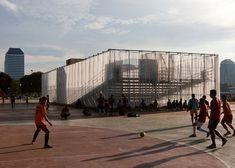 Open-air cinema by Csutoras & Liando built from scaffolding