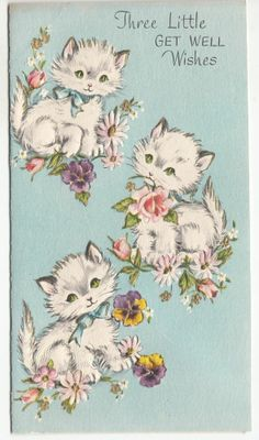 Vintage & Embossed Kittens Playing with Flowers Get Well Greeting Card