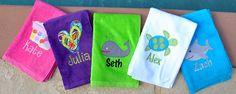 applique monogram beach towel, thepinkpaisley.com