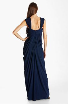 Must see the front of this dress to get the real effect. Photo doesn't do it justice. Greek Goddess knockout of a dress. JS Boutique Draped Jersey Gown available at #Nordstrom