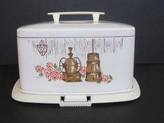 Vintage Ransburg Square White Metal Cake Saver 60's