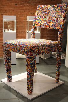"""Enormous Lego chair from Alessandro Jordão debuted as part of the """"Fresh from Brasil"""" exhibit."""