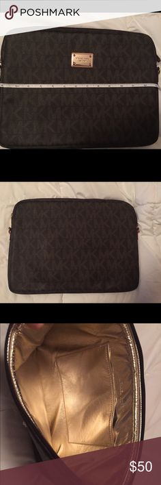 Michael Kors 13 inch laptop case MK laptop sleeve for a 13 inch. Only used a few times. One tiny scratch on front emblem, barely noticeable!! No strap. Michael Kors Accessories Laptop Cases