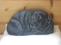 painted rock! love the black lab