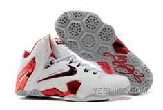 """http://www.yesnike.com/big-discount-66-off-nike-lebron-11-elite-home-pe-whitered-wolf-grey-for-sale.html BIG DISCOUNT ! 66% OFF! NIKE LEBRON 11 ELITE """"HOME"""" PE WHITE-RED/WOLF GREY FOR SALE Only $97.00 , Free Shipping!"""