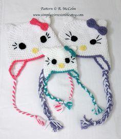 Hello Kitty Cat Hat Pattern - Crochet Pattern Number 13 - Beanie and Earflap Pattern - Newborn to Adult - CROCHET HAT PATTERN