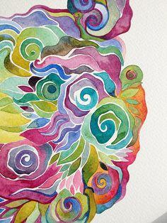 Watercolor Art Lessons, Abstract Watercolor Art, Watercolor And Ink, Watercolor Paintings, Watercolours, Silk Painting, Painting & Drawing, Art Aquarelle, Batik Art