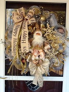 Deco mesh Traditional Santa Wreath by WreathsEtc on Etsy, $155.00
