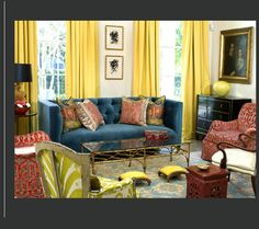 Colors! love the yellow curtains and  ikat on the antque chair!  Mellisa Rufty Interiors