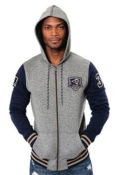 a27b389200b Icer Brands NFL Los Angeles Rams Men s Full Zip Fleece Hoodie Letterman  Varsity Jacket