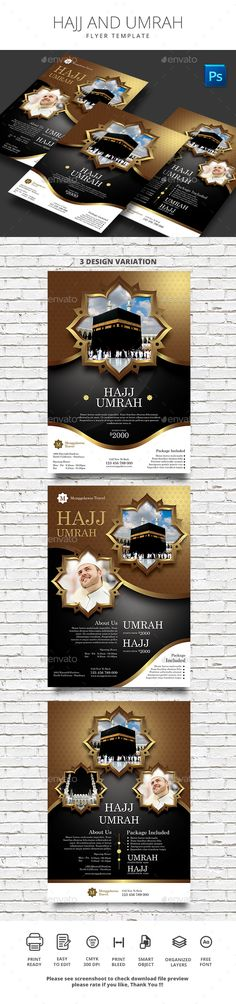 #Hajj and #Umrah - #Flyers Print Templates Download here:  https://graphicriver.net/item/hajj-and-umrah/20370898?ref=alena994