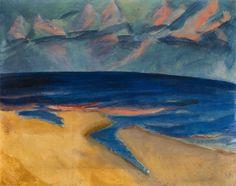 Erich Heckel (German, 1883-1970), Meerlandschaft (Ostende) [Seascape (Ostend)], 1917. Tempera on canvas, 41.3 x 52 cm.