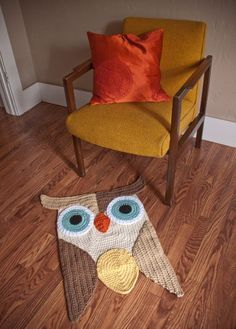 Crochet owl rug. Great Color and Design. Etsy.