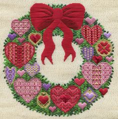 Two-Handed Stitcher, needlepoint heart wreath from laura perin