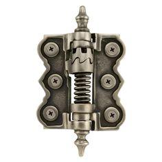 """2-7/8"""" x 3-1/8"""" Brass Adjustable Self-Closing Screen Door Hinge - Antique Pewter"""