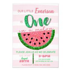 Watermelon, One in a Melon Invitation Glitter Watermelon Birthday Parties, First Birthday Parties, First Birthdays, Birthday Ideas, Fruit Birthday, 32 Birthday, Summer Birthday, Mermaid Birthday, Birthday Decorations