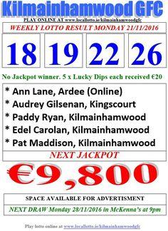 Kilmainhamwood GFC Lotto & News Jackpot: Tickets: www.ie/kilmainhamwoodgfc HashTag: Lotto Draw, Brian Rogers, Jackpot Winners, Number Drawing, O Donnell, Play Online, Numbers, Dipper, News 27
