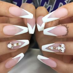 White Matte V French Long Coffin Nails