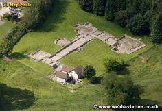 Aerial view shows footprint of a substantial Roman villa built in the first century AD at Great Witcombe, Gloucestershire, England