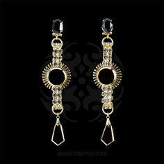 Anton Heunis 'Gotham City' Wire Cage Black Jet Crystal Earrings (GC3.0   Alexandra May Jewellery