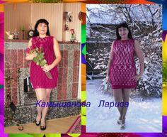 Платье ,,БАРХАТНЫЕ ОБЪЯТИЯ,,   связано на заказ.  Пряжа   ORION Vita cotton (77% мерсеризованный хлопок, 23% вискоза, 50гр/170м ).  Расход  370г.  Кр.1.5, 2.