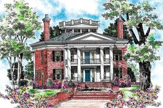 Colonial Plantation House Plan 4000 sq ft - nice porches, rectangle house, master-up Colonial House Plans, Southern House Plans, Colonial Style Homes, House Floor Plans, Old Southern Homes, Southern Living, Coastal Living, House Plans One Story, 2 Story Houses