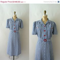 20 SALE 1930s Vintage Dress  30s Blue Polka Dot by Sweetbeefinds, $118.40