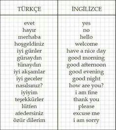 Let's learn basic Turkish words☺ Which words do you know? Share with me! Learning Italian, Learning Arabic, Vocabulary Journal, Turkish Lessons, Learn Turkish Language, English Words, Study Motivation, Some Words, T 4