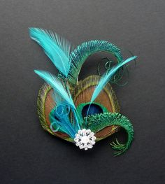 Turquoise Blue Silver Peacock Feather Hair Clip Fascinator Bridesmaid 1920s 231